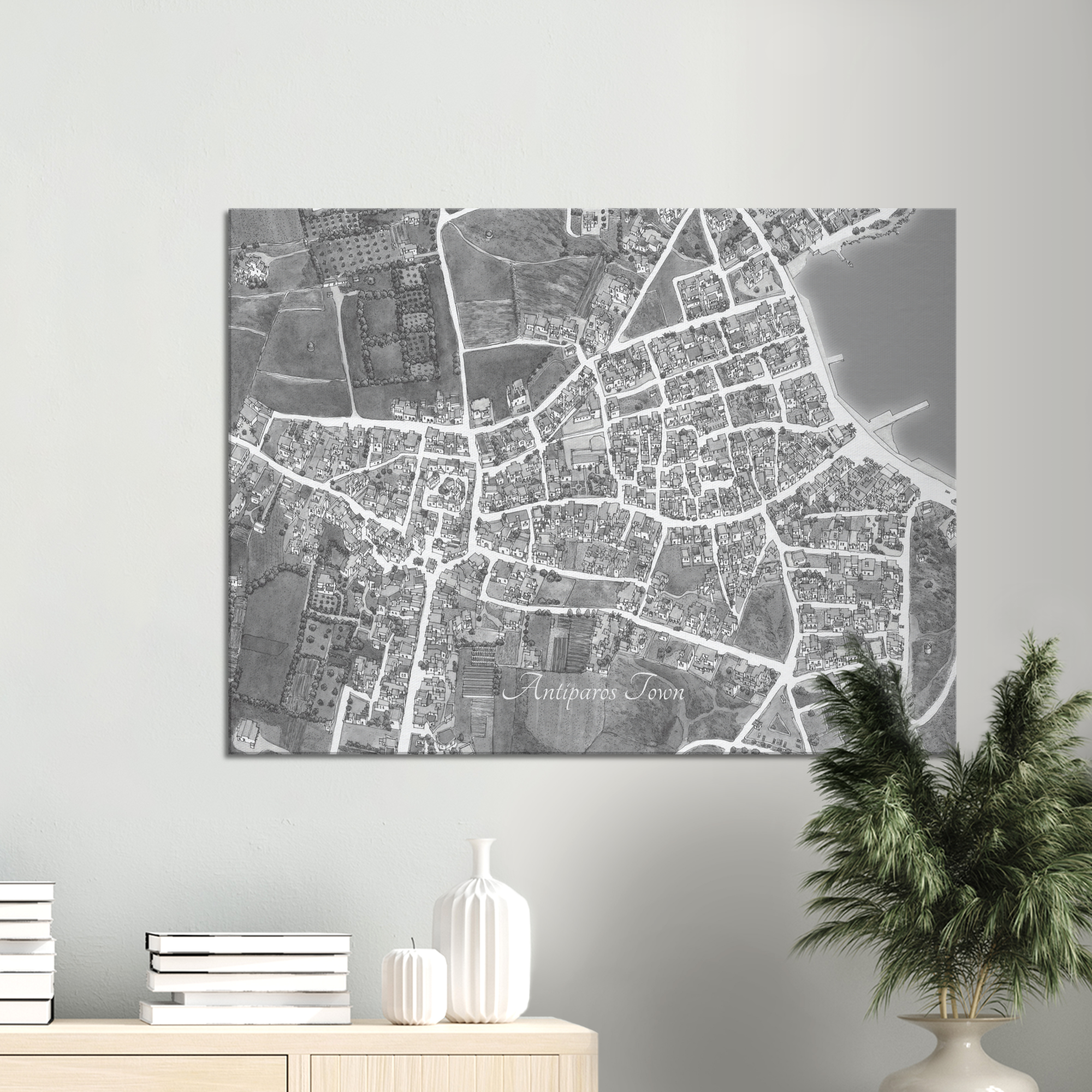 Antiparos Town, Greece – Black & White Canvas Print – Framed