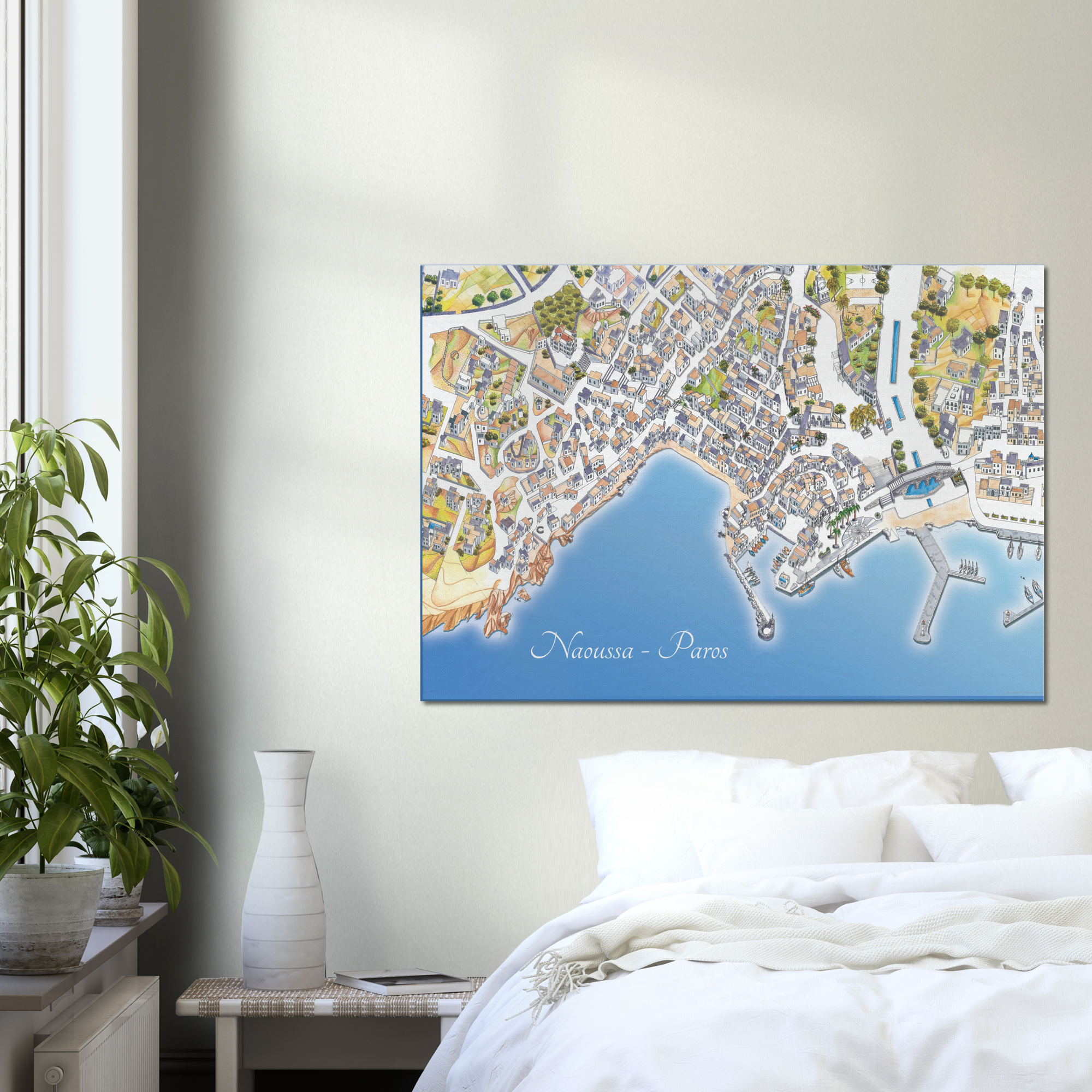 Naoussa, Paros, Greece – Color Canvas Print – Framed