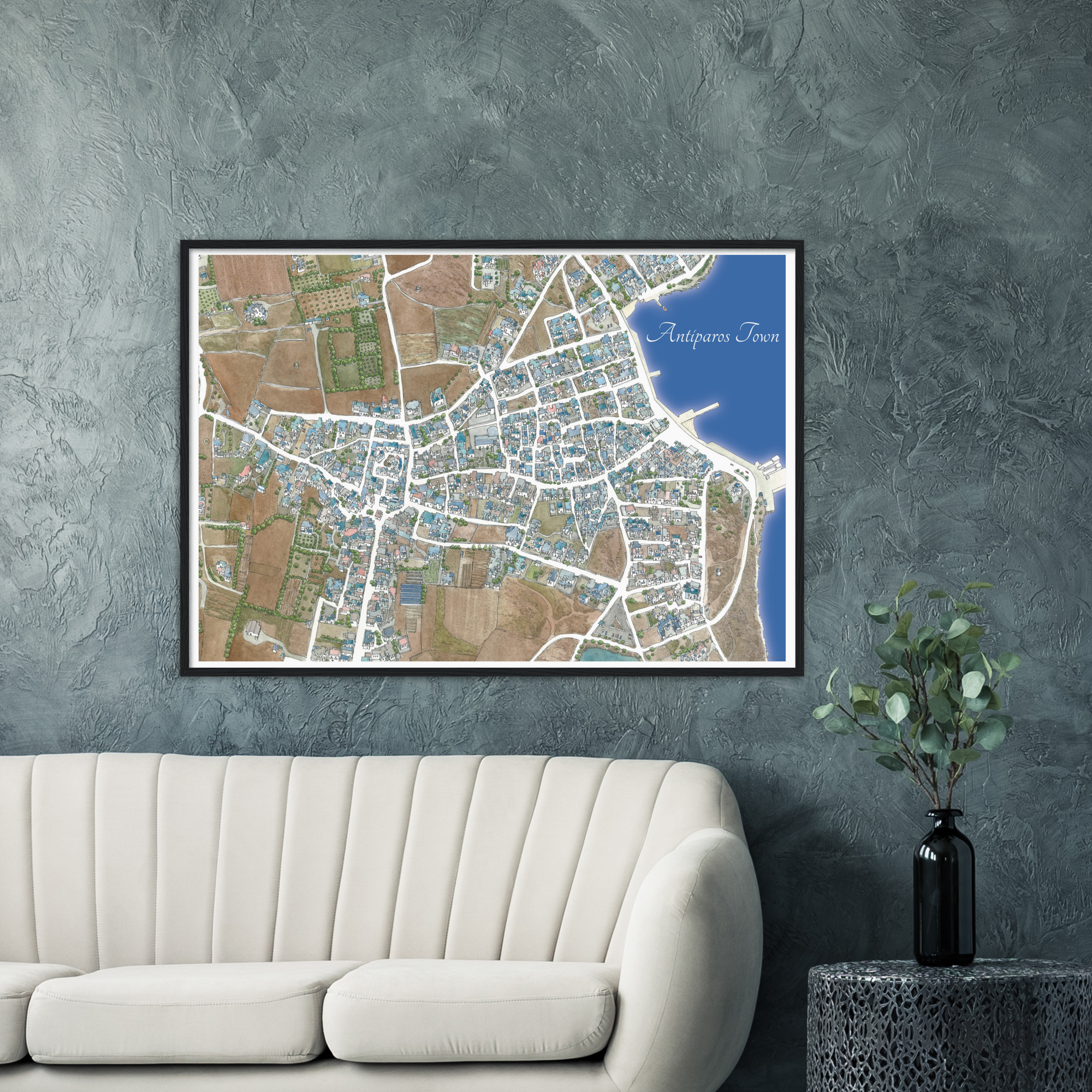 Antiparos Town, Greece – Color Print – Wooden Framed Poster