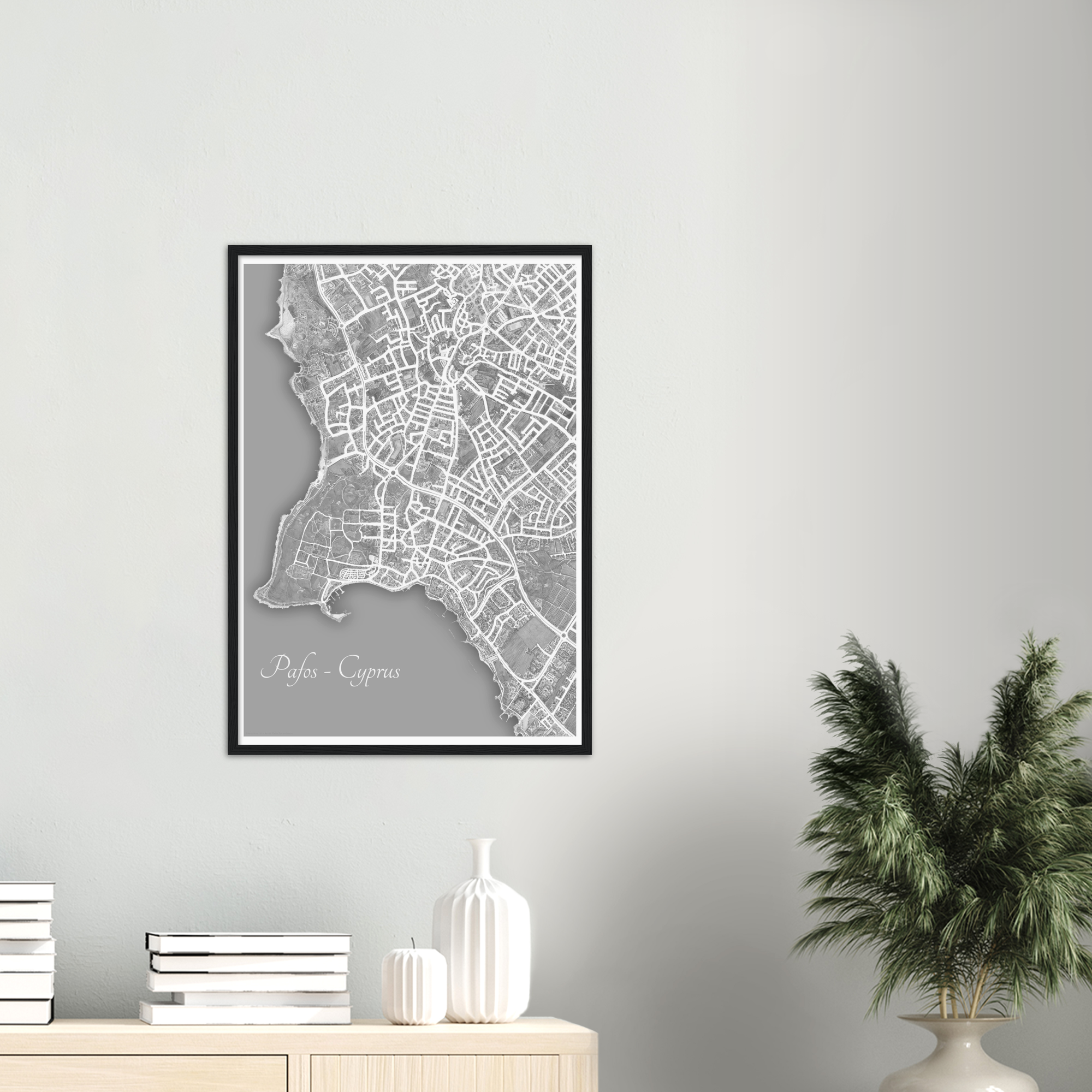 Pafos, Cyprus – Black & White Print – Wooden Framed Poster