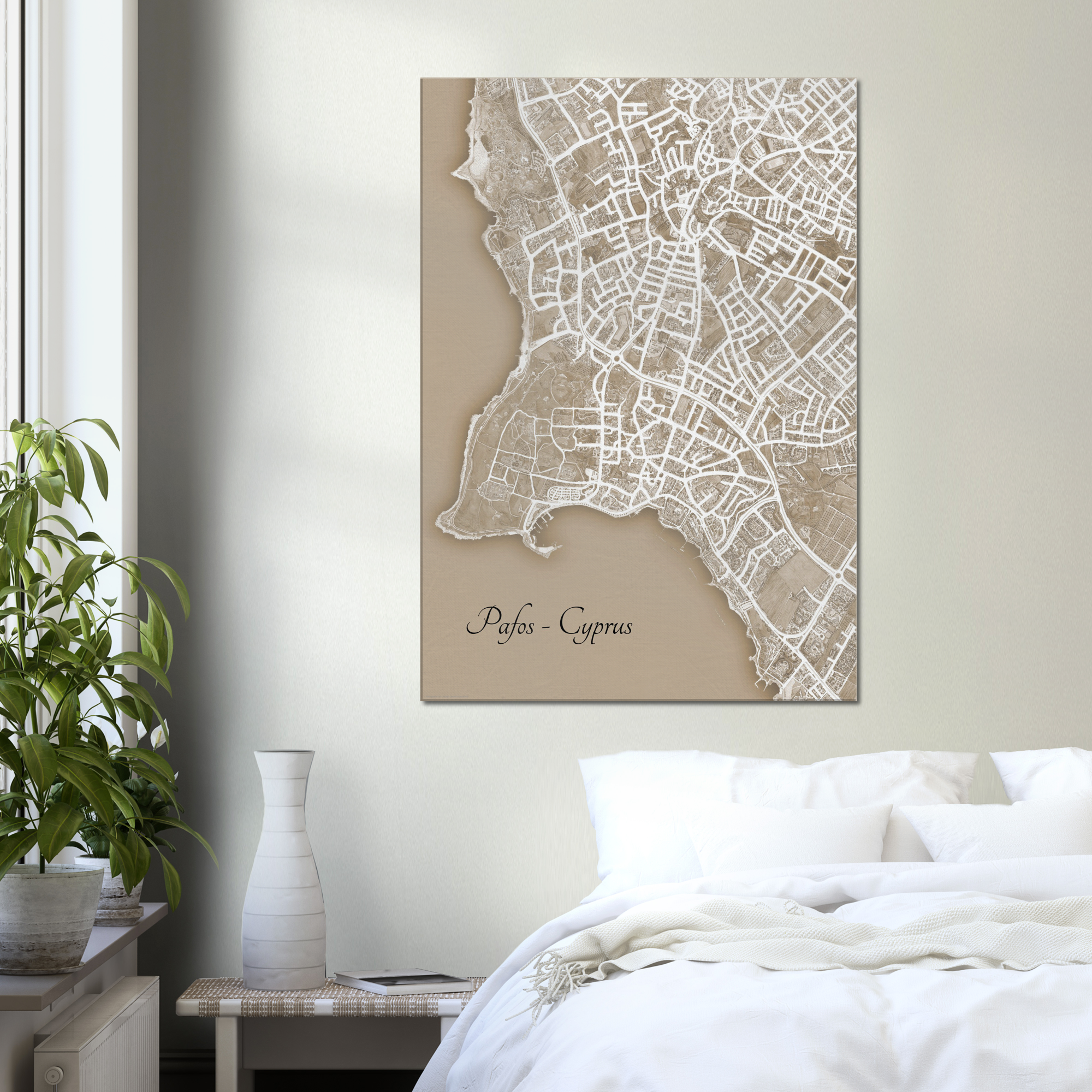 Pafos Town, Cyprus - Sepia Canvas Print - Framed