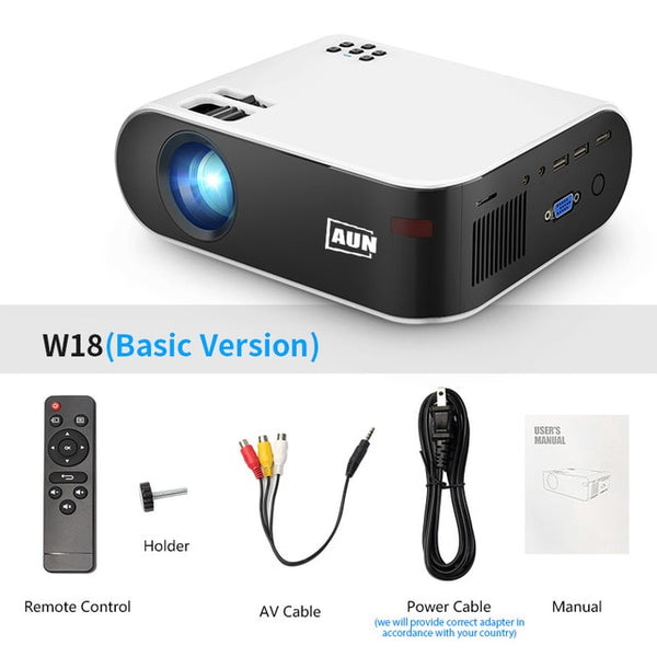 AUN MINI Projector W18, 2800 Lumens, support Full HD