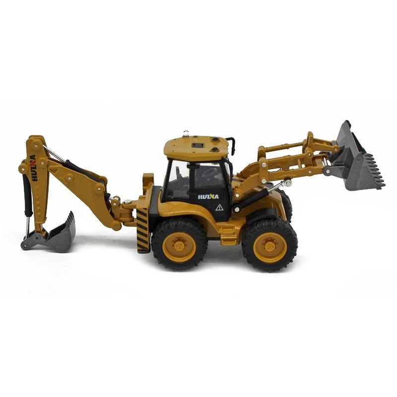 Huina 1:50 Alloy backhoe loader White background 2