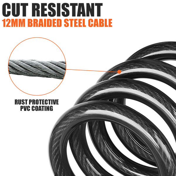BV Lock with Self Coiling Cable, Resettable Combination | BV-BL04