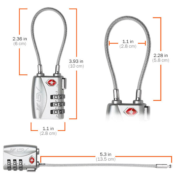BV TSA Padlock for Locker, Suitcase, pair Silver | BV-TL04-SL-PAIR