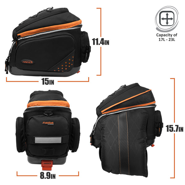 IBERA PakRak Commuter Bag, Expandable Mini Panniers | IB-BA14