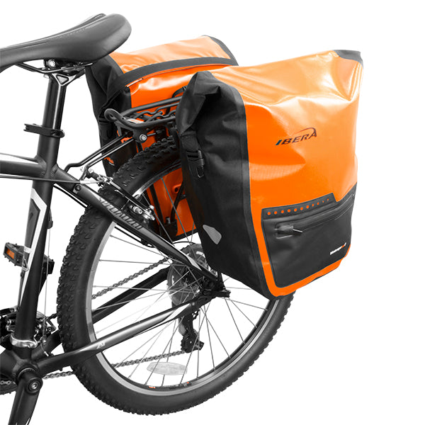 IBERA Bike Waterproof Panniers PAIR, Orange | IB-BA20-ORG-PAIR