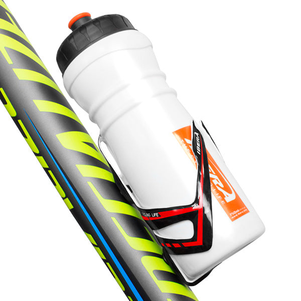 IBERA Lightweight Carbon Fiber Water Bottle Cage, White | IB-BC16-WH