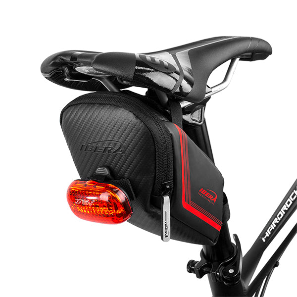 IBERA Strap-on Bike Saddle Bag Red | IB-SB16-M-RD