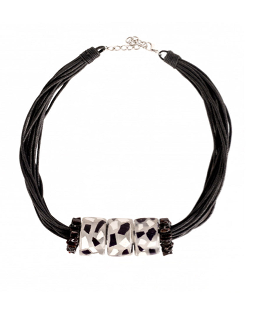 Halskette - Eggshell Necklace Black & White