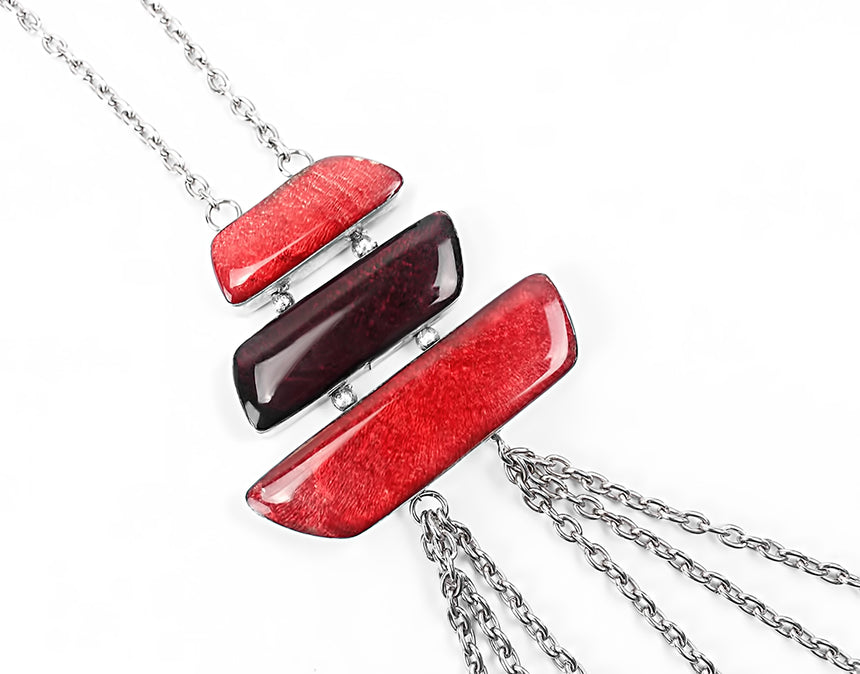 Halskette - Samira Temple Necklace Red & Silver
