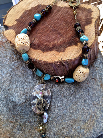 Carved Bone and Turquoise