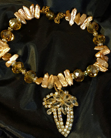 fresh water  amber color pearls