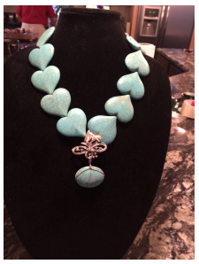 Blue Turquoise Hearts Heirloom Piece