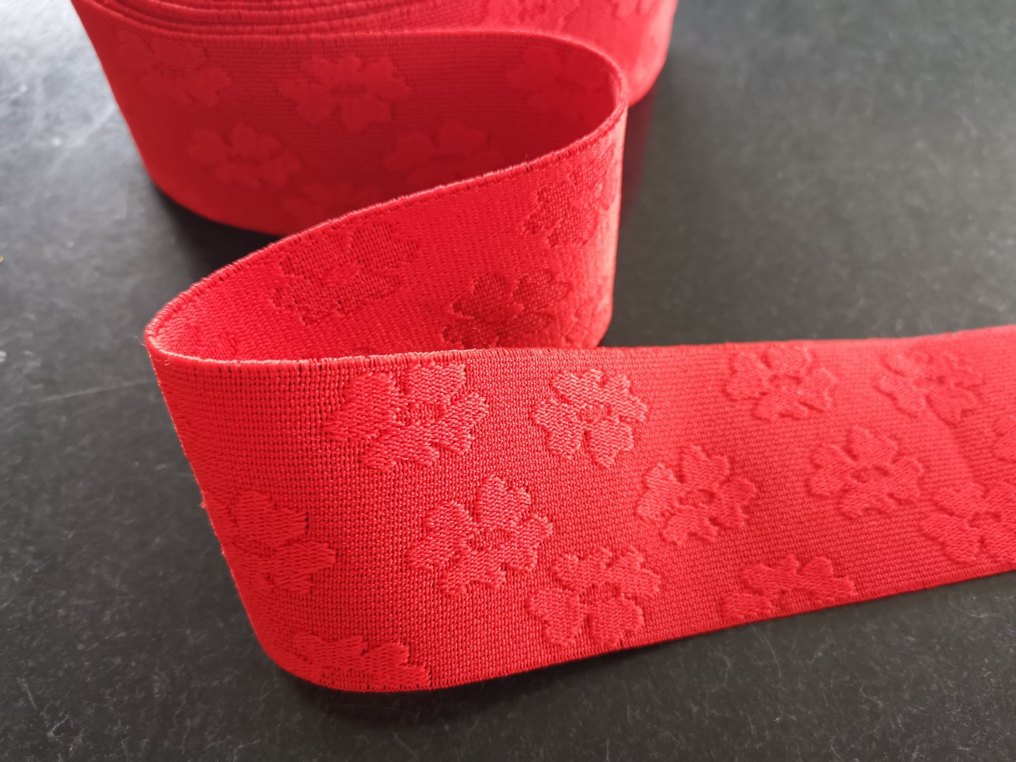 Jacquard Elastic Band - Red Poppy
