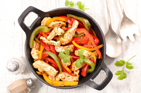 Chicken fajitas with bell peppers and onions