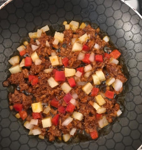 Pan with chopped chorizo,onion, potato and bell peppers