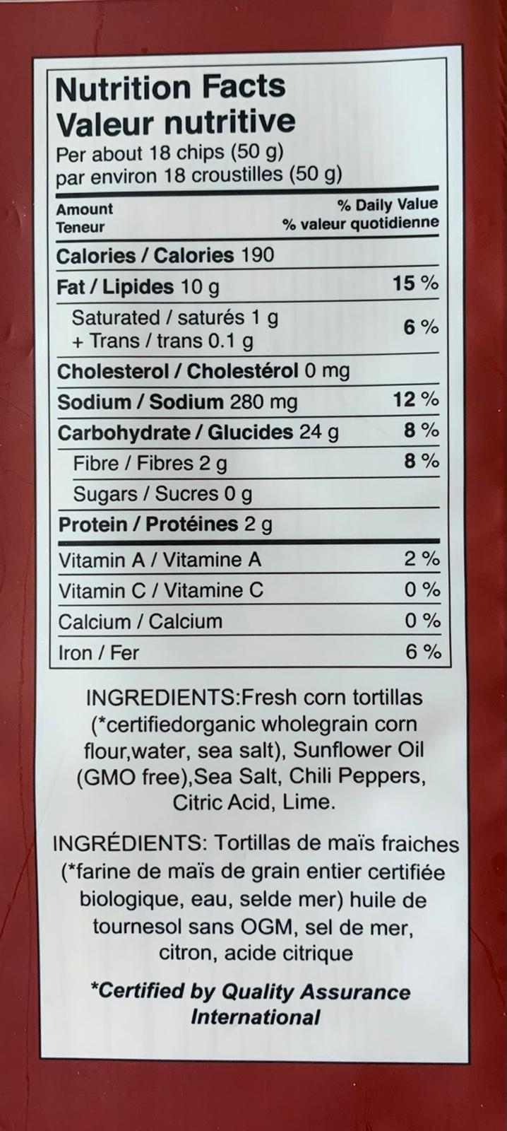 AlbaLisa Chilli Lime Tortilla Chips nutrition facts