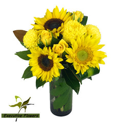 Sunflowers & Happiness Vase