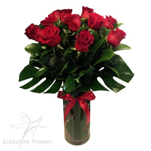 PREMIUM Romance 12 Red Roses Bouquet In A Vase