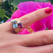 Load image into Gallery viewer, Baroque Rocks vintage gold aquamarine and pink garnet