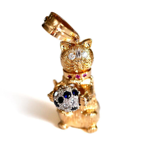 Baroque Rocks vintage gold articulated cat pendant -