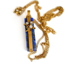 Load image into Gallery viewer, Baroque Rocks vintage gold lapis lazuli and diamond Dazzling
