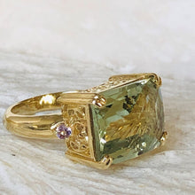 Load image into Gallery viewer, Baroque Rocks vintage gold prasiolite and amethyst