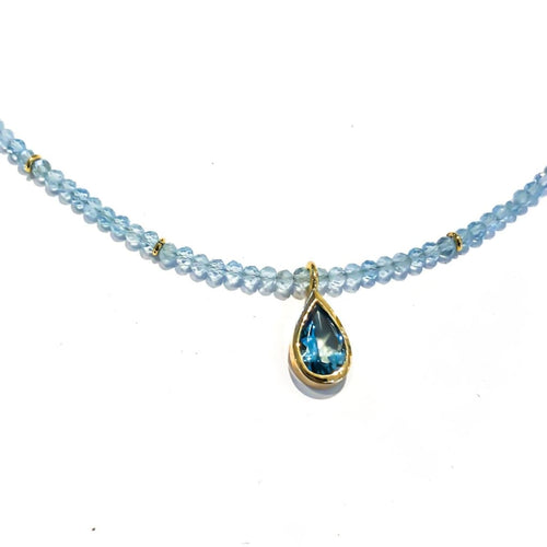 Libby Rak aquamarine and gold necklace - necklace