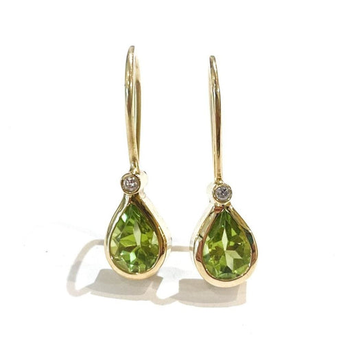 Libby Rak peridot diamond and gold drop earrings - earrings