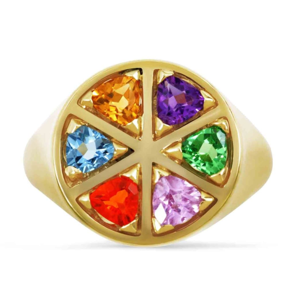 Origin 31 gold and rainbow gemstone The Wedge ring - ring
