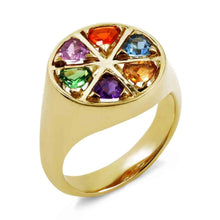 Load image into Gallery viewer, Origin 31 gold and rainbow gemstone The Wedge ring - ring
