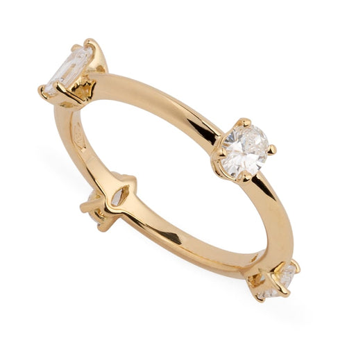 Reframed Jewelry gold and fancy-cut diamond Four Diamond