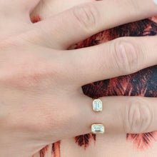 Load image into Gallery viewer, Reframed Jewelry rose gold and emerald-cut diamond open ring