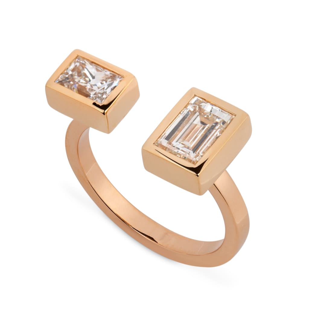 Reframed Jewelry rose gold and emerald-cut diamond open ring