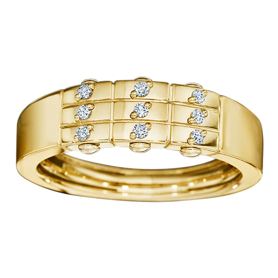 Royal Asscher gold and diamond DNA ring - 18ct yellow gold /