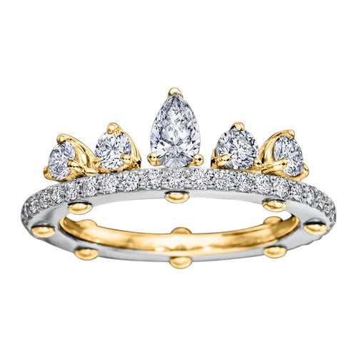 Royal Asscher gold and diamond DNA Tiara ring - K / White