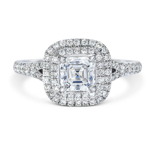 Royal Asscher gold and diamond Rosalind double halo