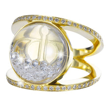 Load image into Gallery viewer, Royal Asscher gold and floating diamond Elara ring - ring