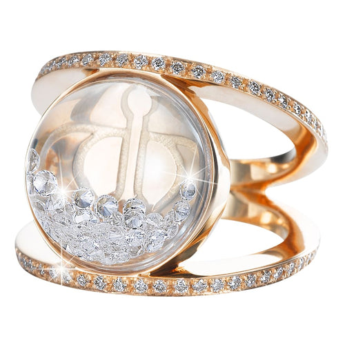 Royal Asscher gold and floating diamond Elara ring - ring