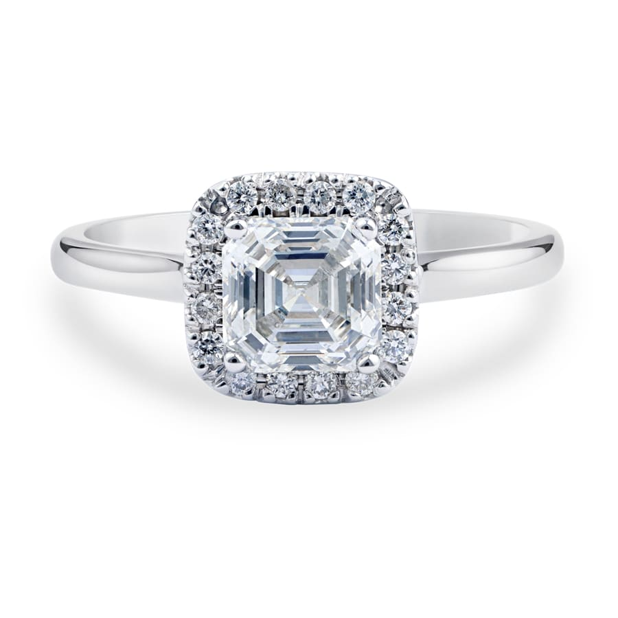 Royal Asscher white gold and diamond Caterina halo