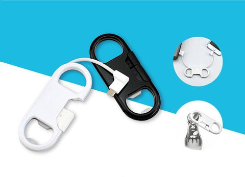 2 in 1 -Bottle Opener Keychain USB Charge Cable for iPhone & Andro - Indigo-Temple