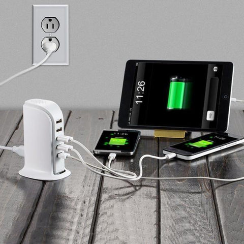 MegaDock - 6 Port USB Fast Charging Station - Indigo-Temple