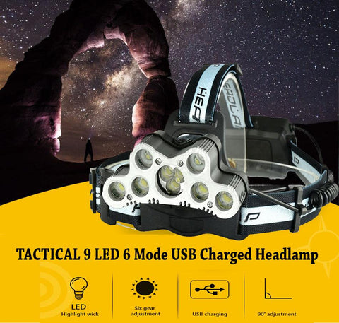 TACTICAL 7/9 LED 6 Mode USB Charged Headlamps - Indigo-Temple