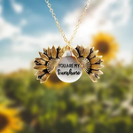 "Sunflower Necklace with hidden ""You Are My Sunshine"" Message - Indigo-Temple"