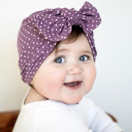 Baby Girls Polka Dot Headband - Indigo-Temple