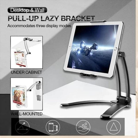 2 In 1 Desktop Stand & Wall Mount Bracket Holder For Tablets & Smartphones