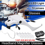 C-Sharp™ Adjustable 5 Lens Magnifier Glass HeadBand With LED Light