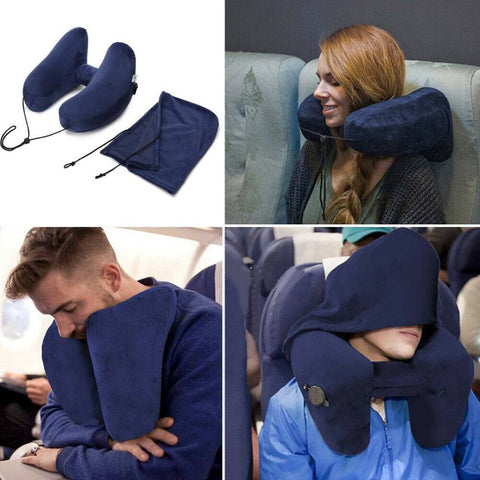 TotalSupport™ Inflatable H-Shape Travel Pillow - Indigo-Temple