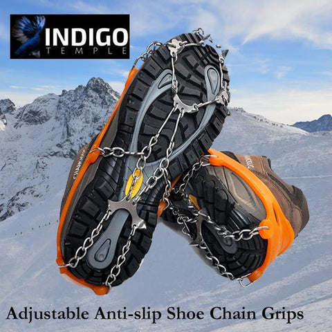Adjustable Anti-slip Shoe Chain Grips - Indigo-Temple